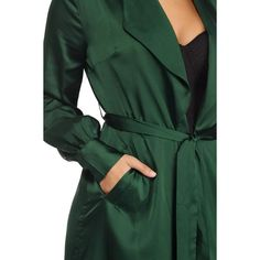 Emerald Smooth Satin Trench ($50) ❤ liked on Polyvore featuring outerwear, coats, green coat, draped trench coat, emerald green coat, trench coats and draped open front coat