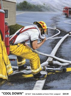 COOL DOWN is one of the earlier firefighter related prints, of the artist and can be personalized on the hose with a FD name Firefighter Images, Ems Humor, Firefighters, Forget, Dads, Military, Artist, Prints, Dibujo