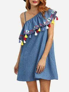 Shop Blue One Shoulder Ruffle Tassel Embroidered Dress online. SheIn offers Blue One Shoulder Ruffle Tassel Embroidered Dress & more to fit your fashionable needs.