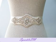Rhinestone Pearl Bridal Sash  Lauren by SparkleSM on Etsy, $125.00