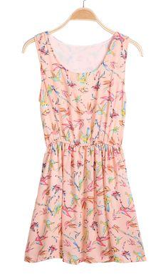 Pink Sleeveless Swallow Print Pleated Dress - Sheinside.com