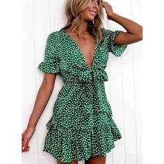 Mini Vestidos, Vestidos Vintage, Tie Front Dress, V Neck Dress, Knot Dress, Wrap Dress, Cheap Dresses, Summer Dresses, Holiday Dresses