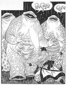 "sorcerersskull: "" Art by Enrique Alcatena "" Michael Chabon, Comic Books Art, Comic Art, Retro Illustration, Comic Illustrations, Pen Design, Cartoon Posters, Fantasy Monster, Science Fiction Art"
