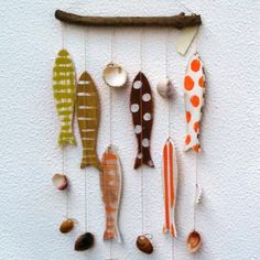 Nautical Wooden Fishe Mobile, Custom Wooden Decor, Orange Brown Green Wooden Fishes, Nursery Nautical Decoration, Baby Shower Nautical Decor by LIMASCRAFTS on Etsy