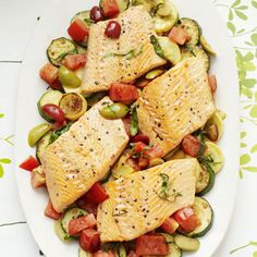 Provençale Arctic Char - This healthy meal combines Artic char fillets (similar to salmon) with healthy summer veggies and heart-healthy olives. #myplate #protein #vegetables