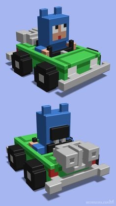 Car and character design for a 3D pixel style racing game (created years before Crossy Road, on a side note).