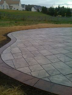 Stamped concrete patterns patio: Ensure that you keep the space you design a business office. It is rather vital to have good lighting within a work space. Concrete Patio Designs, Concrete Walkway, Cement Patio, Backyard Patio Designs, Backyard Landscaping, Patio Ideas, Stamped Concrete Patios, Stamped Concrete Patterns, Cement Work