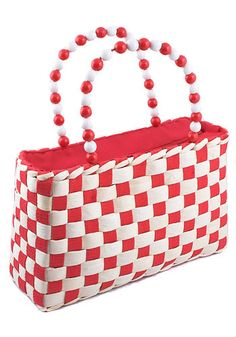 Red and white checkered board purse