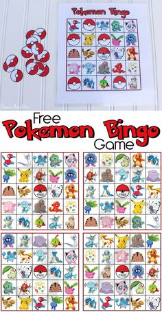 Free Pokemon Bingo Game Printable - Do your kids love Pokemon? Download and print this free Pokemon Bingo game for them to play. It's perfect for a Pokemon Birthday Party. This freebie includes 4 different bingo cards. #Pokemon #freeprintable