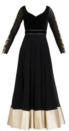 Black chiffon anarkali with a quilted velvet yoke, broad gold quilted border and sheer pleeted sleeve with gold embroidery available at Pernia's Pop-Up Shop