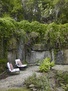 Stone walls and tropical jungle lushness