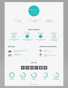 Clean, simple, awesome resume design by Maybelle Briones, via Behance … For mo… Portfolio Design, Portfolio Resume, Portfolio Ideas, Graphic Resume, Graphic Design Resume, Modern Resume Template, Creative Resume Templates, Template Cv, Format Cv