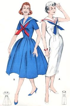 1950s Perky NAUTICAL Sailor Collar Middy Dress Pattern BUTTERICK 8595 Full or Slim Skirt Bust 34 Vintage Sewing Pattern...