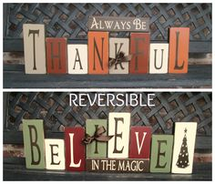 Reversible Holiday BlocksAlways be Thankful reverses by jjnewton, $38.00