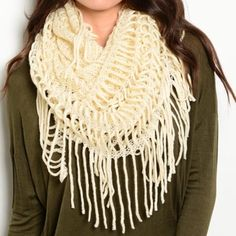 Oversized Knit Scarf ✨ Comment below and I will make you a separate listing!Beige fringe infinity scarf Features long fringe and mixed knit textures, for a versatile accessory. Full and chunky with a great shape to make an awesome statement piece. Can also be worn flat as a classic scarf. Shimmer throughout 4 availablePrice is firm15% off bundlesReduced shipping on all orders  Accessories Scarves & Wraps