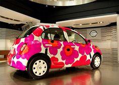 This is the Nissan March (Micra) a supermini car painted in the recognizable Marimekko Unikko pattern. Fiat 500, Merci Boutique, Ferrari, Lamborghini, Volkswagen, Hispano Suiza, Mini Car, Silver Car, Pt Cruiser
