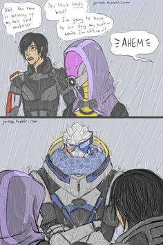 Mass Effect - FemShep, Garrus & Tali Mass Effect Comic, Mass Effect Funny, Mass Effect Garrus, Mass Effect Art, Artemis Fowl, Mass Effect Universe, Commander Shepard, Nerd Love, Lord