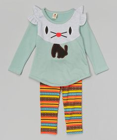 Loving this Mint Mouse Tee & Orange Tribal Pants - Infant, Toddler & Girls on #zulily! #zulilyfinds