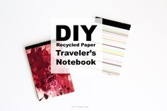 DIY Notebook made with reused printer paper and a cereal box. Cereal box upcycle. DIY travelers notebook.