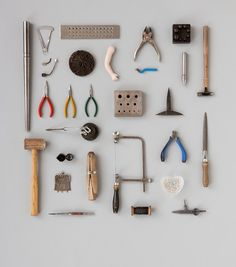 Victoria Mason tools of the trade Flat Lay Photography, Jewelry Photography, Still Life Photography, Jewelry Tools, Jewelry Making, Things Organized Neatly, Prop Styling, Jewellery Display, Metal Working