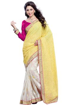 White and yellow brasso saree with pink art silk blouse with price $92.20.Embellished with embroidered, resham and stone.Saree comes with v neck blouse.It is perfect for casual wear, festival wear, party wear and wedding wear. Andaaz Fashion is the most popular designer wear online ethnic shop brands.  http://www.andaazfashion.us/womens/sarees/occasion/party-wear-saree