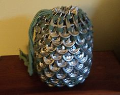 Upcycled poptab chain mail drawstring dice bag