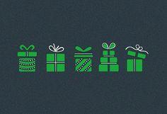 #Weihnachtskarte grau/grün mit #Geschenken, inkl. Kuvert.