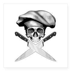 Chef Skull: 2 Square Sticker x Chef skull: Square Sticker x by Rotntees - CafePress Dean Tattoo, Uv Tattoo, Knife Tattoo, Bicep Tattoo, Vine Tattoos, Body Art Tattoos, Cool Tattoos, Tatoos, Koch Tattoo