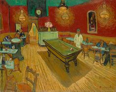 """Van Gogh """"The Night Cafe"""" (1888) where the artist had a room. In a letter to his brother Theo: """"I have tried to express the terrible passions of humanity by means of red and green."""" The painting is an instance of Van Gogh's use of what he called """"suggestive color"""" or, as he would soon term it, """"arbitrary color"""" in which the artist infused his works with his emotions, typical of what was later called Expressionism."""