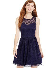 Trixxi Juniors' Illusion Lace Cutout Dress