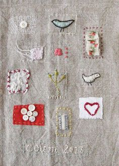 Small art quilt, embroidered, stitched cloth, Spring Song. Colette Copeland