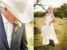 handsome cowboy groom, charcoal gray suit from Target, custom tie from Etsy, cream colored cowboy hat, dapper groom, Sue Wong for Nordstrom lace wedding dress, cowboy boots, bride in cowboy boots, bridal portraits, groom's portraits, purple and green country chic wedding, Bend the Light Photography