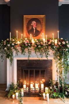 30 Winter Wedding Arches And Altars To Get Inspired: A non-working fireplace decorated with candles, greenery and blush and red roses (Diy Wedding Arch) Wedding Mantle, Winter Wedding Arch, Wedding Ceremony Arch, Church Wedding Decorations, Wedding Arches, Wedding Church, Ceremony Backdrop, Backdrop Ideas, Christmas Fireplace Decorations