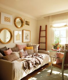 FINDINGS OF DECOR - decor blog                 lovely colors in light-filled room; interesting window treatment