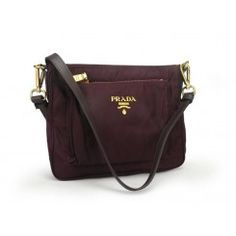 Prada Small Vela Nylon Messenger Bag BT0693 Burgandy (Bordeaux)