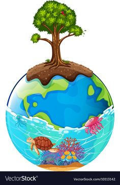 Tree and ocean on earth Royalty Free Vector Image Earth Drawings, Art Drawings For Kids, Drawing For Kids, Save Our Earth, Love The Earth, Save Water Poster Drawing, Save Earth Drawing, Save Earth Posters, Ocean And Earth