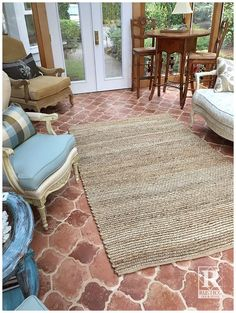 We love the neutral tones of color in the Riviera Pattern Antique Saltillo Tile. This 2-tile pattern is made up of the San Felipe and Fleur de Lis tiles. A nice touch of soft blues and added texture from a handwoven rug make the room complete. #antique #rustic #rusticotile #homedecor #flooring #saltillotile #mexicantile #SpanishStyle #mexican #patiodecor #interiordesignideas #interiors