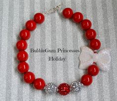 Chunky BubbleGum bead necklace Christmas Holiday red and white glitter bow sparkle girls toddler baby Jewelry on Etsy, $18.00
