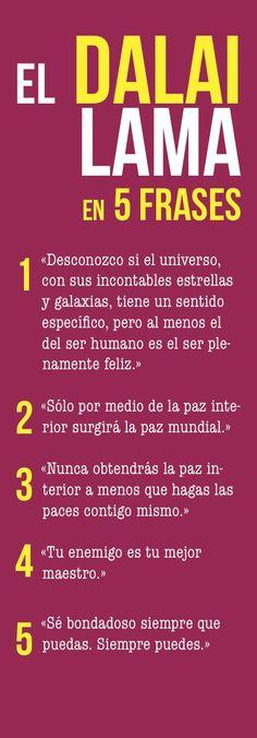 Les comparto 5 frases especiales del Dalai Lama para reflexionar y practicar.
