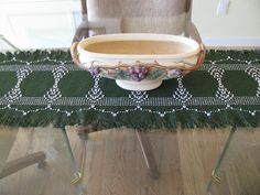 swedish weaving  | Hunter Green Swedish Weaving Table Runner by rdrunnercreations
