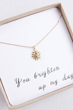 Nice Tiny Sun Necklace This affordable, ethical gold sun necklace will brighten up anyone's day. Great gift idea for friends or family. Wear it on its own or paired with oth. Diy Gifts For Girlfriend, Necklace For Girlfriend, Boyfriend Gifts, Stone Roses, Marie Antoinette, Gifts For Girls, Gifts For Her, Small Gifts For Friends, Handmade Gifts For Friends