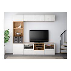 BESTÅ TV storage combination/glass doors - oak effect/Selsviken high-gloss/white clear glass, drawer runner, soft-closing - IKEA