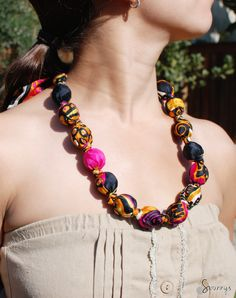 fabric covered bead necklace how to tutorial