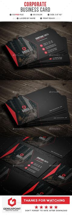 Buy Corporate Business Card by GeniusPoint on GraphicRiver. Features: Easy Customizable and Editable Business Card Design in with Bleed Setting inch) CMYK Colo. Elegant Business Cards, Cool Business Cards, Corporate Business, Business Card Design, Web Design, Design Cars, Design Layouts, Graphic Design, Brochure Design