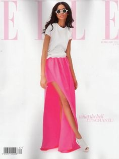 Chanel Iman…pretty in pink. Fashion Models, Fashion Beauty, Elle Fashion, Chanel Iman, Chanel Pink, Hi Low Skirts, Vogue, Pink Maxi, Plain Tees