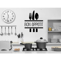 Bon Appetit With Cutlery Wall Stickers Kitchen Wall Art Decal - Quotes & Slogans - Kitchen - Home & Living
