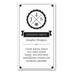 Retro Nautical Anchor Monogrammed. This great business card design is available for customization. All text style, colors, sizes can be modified to fit your needs. Just click the image to learn more!