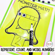Free Monster Math Activity for counting, representing, modeling numbers