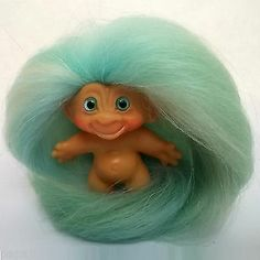 1960s Vintage DAM Troll Doll OOAK Mint Green Sky Blue Cream Mohair & Spiral Eyes
