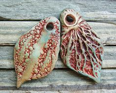 Polymer clay leaf-shaped dangles with organic and by atLoganSquare